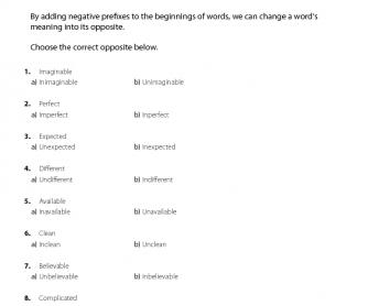 Negative Prefixes 1