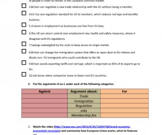 Movie Worksheet: Brexit Advanced