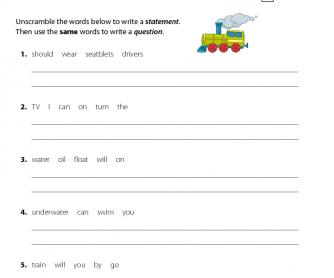 English Resource - Unscramble the Sentences 2