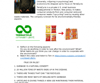 Movie Worksheet: Eliminating the Idea of Waste