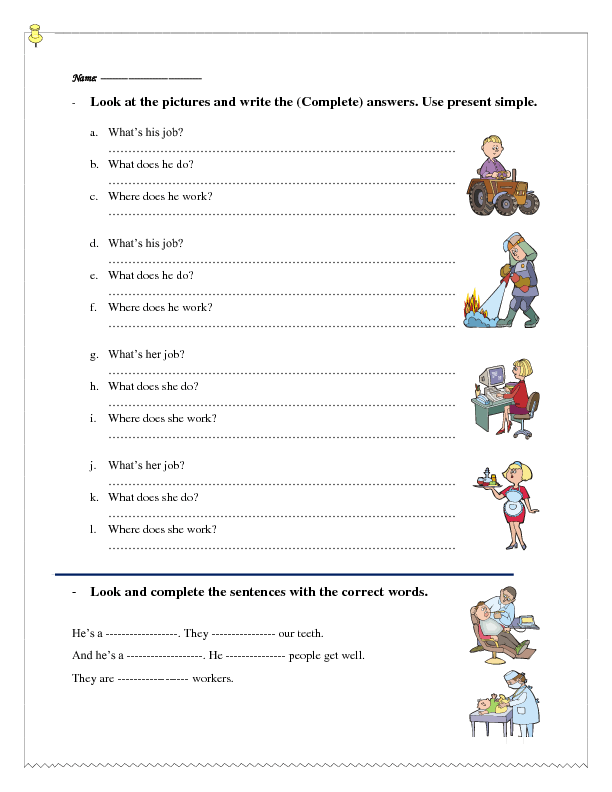330 FREE Jobs and Professions Worksheets