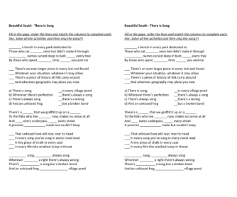 Song Worksheet: Beautiful South (There Is)