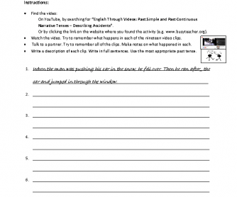 Movie Worksheet: Describing Accidents (Past)