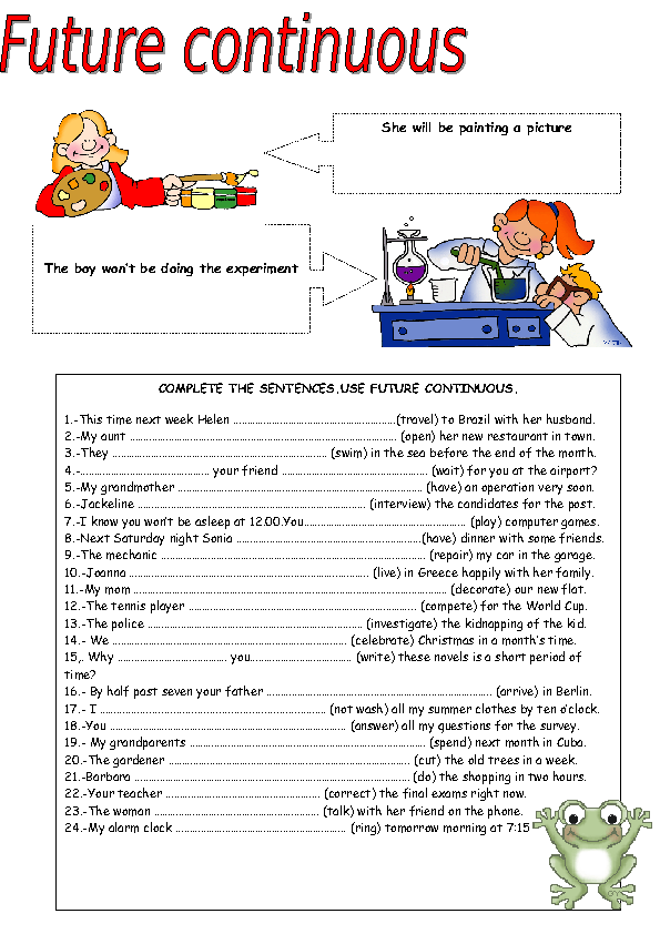 Printable Worksheets spanish future tense practice worksheets : 39 FREE Future Continuous Worksheets