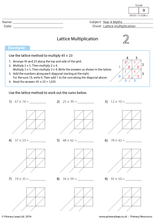Lattice Multiplication 2 – Multiplication Lattice Worksheets