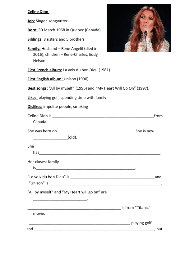 writing  celine dion short biography