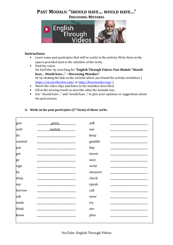 Printable Worksheets should worksheets : 107 FREE Should/Ought to Worksheets