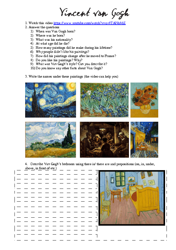 5 FREE ESL van gogh worksheets