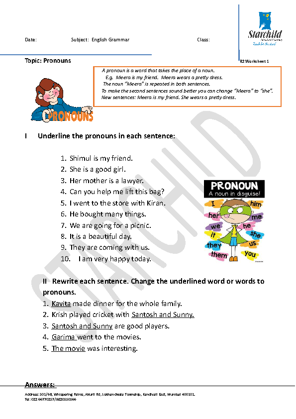 387 Free Pronoun Worksheets