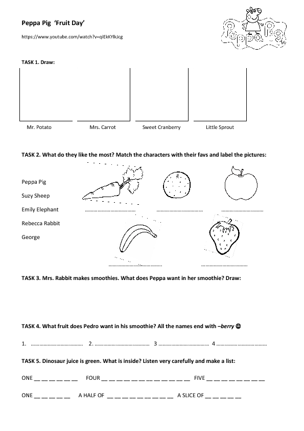135 FREE Fruit and Vegetables Worksheets