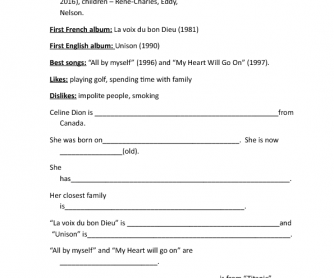 writing worksheets writing celine dion short biography