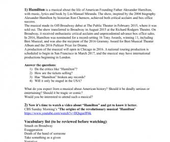 Movie Worksheet: Broadway Musical Hamilton + Reading