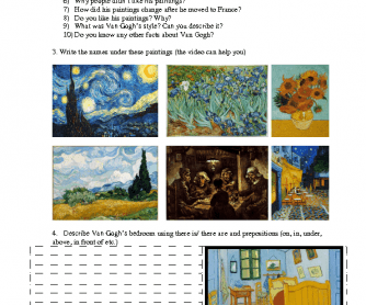 Movie Worksheet: Famous People- Van Gogh