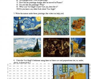 Movie Worksheet: Famous People- Van Gogh