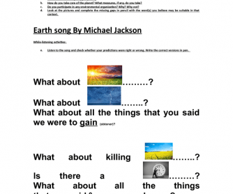 Song Worksheet: Earth Song (Vocabulary and Speaking)