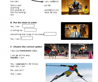 Song Worksheet: Yes I Can (Paralympics Song)