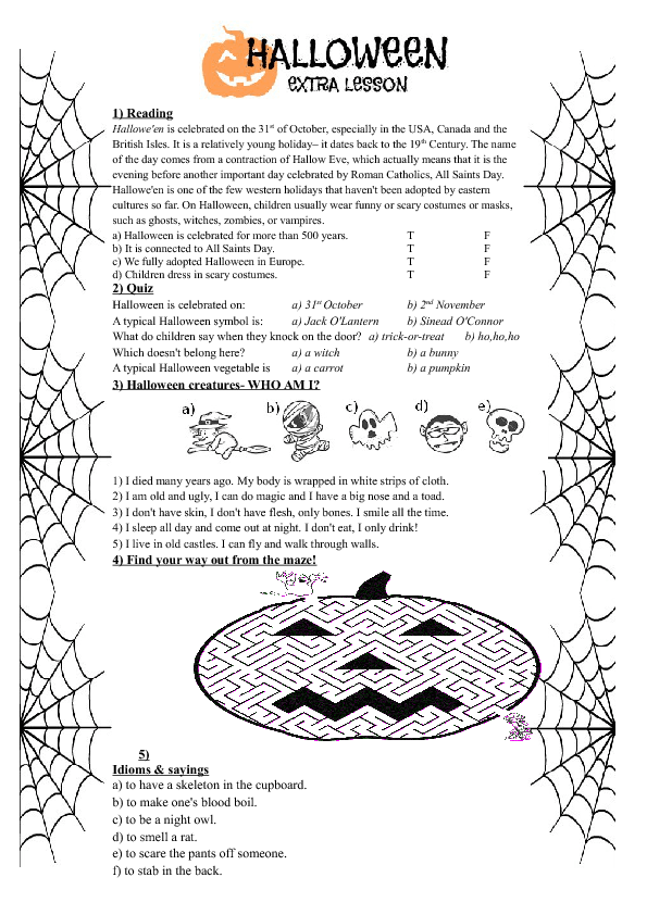 214 FREE Halloween Worksheets – Idiom Worksheets 4th Grade