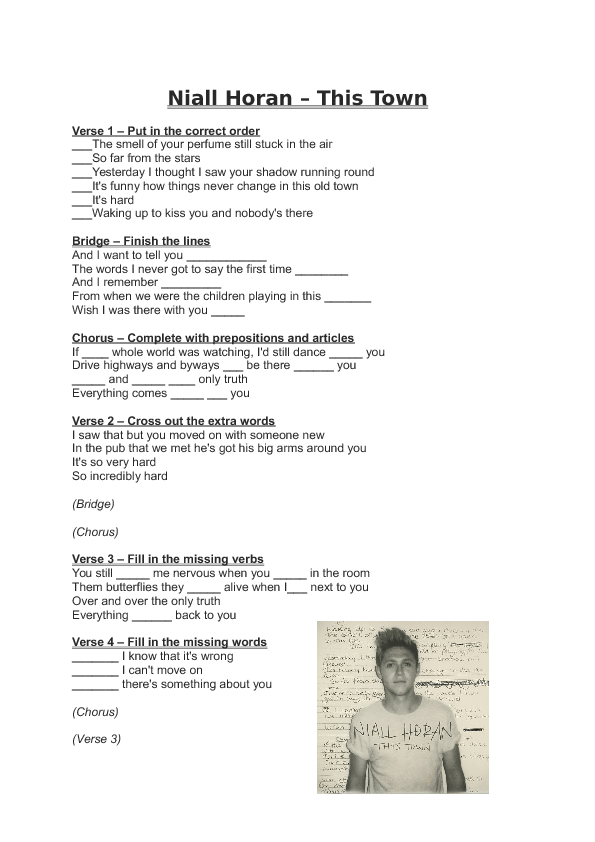 Song Worksheet This Town By Niall Horan