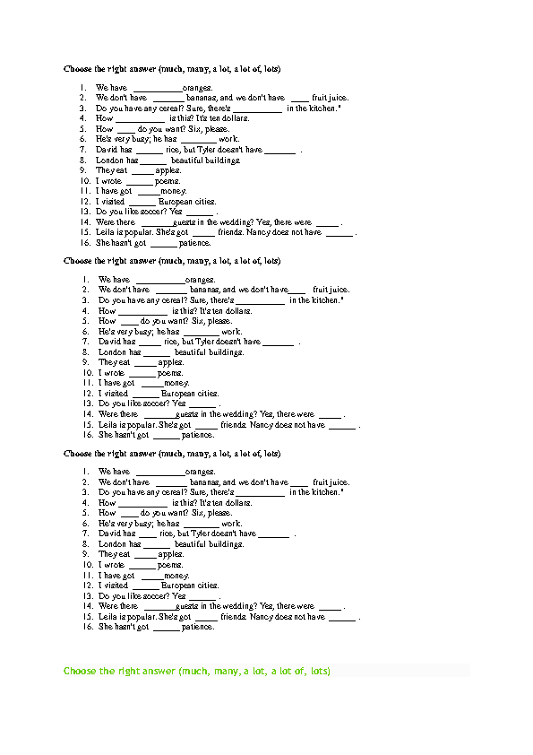 some and any exercises pdf with answers