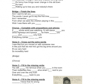 Song Worksheet: This Town by Niall Horan