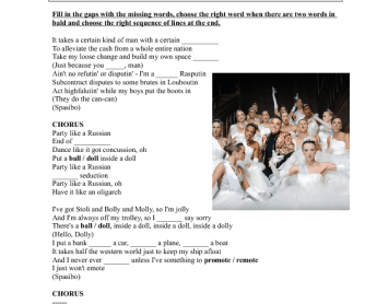 Song Worksheet: Party Like a Russian by Robbie Williams