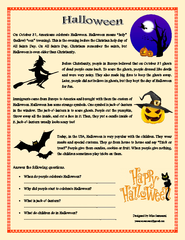 214 FREE Halloween Worksheets – Halloween Reading Worksheets
