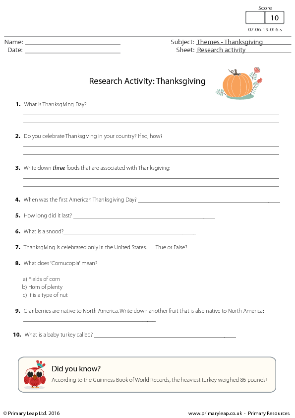 Thanksgiving Worksheet Research