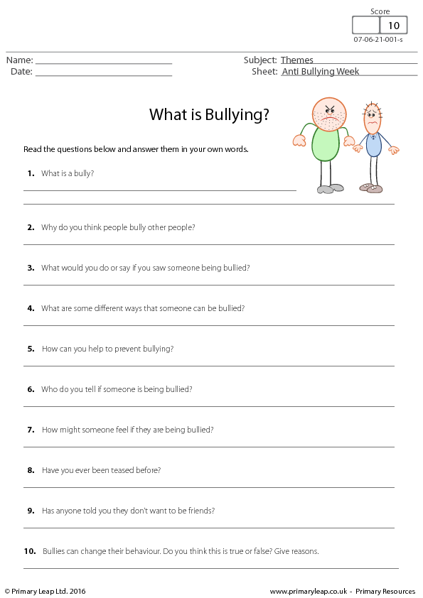 Worksheet: Anti Bullying Week - What Is Bullying?