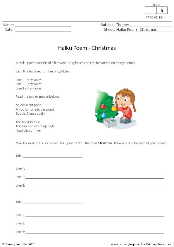 english worksheet haiku poem christmas