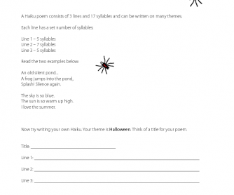 Halloween Worksheet - Haiku Poem