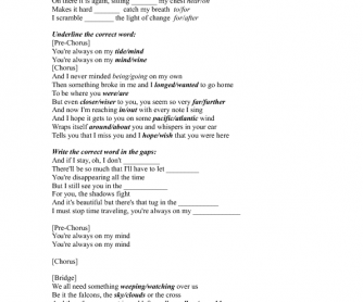 Song Worksheet: Wish That You Were Here by Florence and the Machine