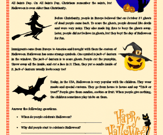 halloween reading - Free Halloween Reading Comprehension Worksheets