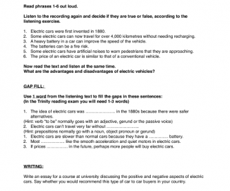 Electric Cars Listening, Gap Fill and Writing Task (ISE 2/B2)
