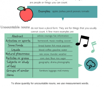Countable and Uncountable Nouns- Explanation and Activity