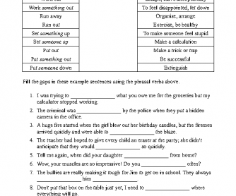 Phrasal Verbs Worksheet 3 - Match and Fill the Gaps