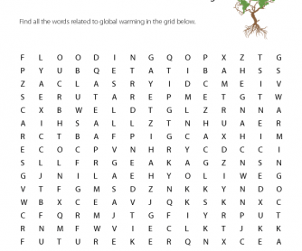 Global Warming Worksheet: Word Search