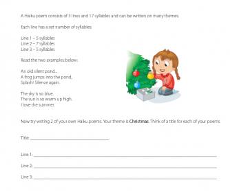 English Worksheet Haiku Poem Christmas