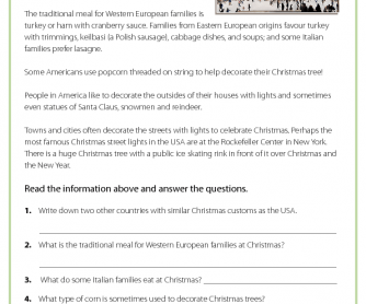 Christmas in the USA - Reading Comprehension