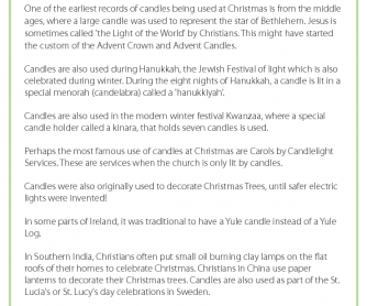 The History of Candles - Christmas Fact Sheet