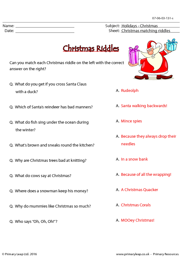 christmas riddles matching worksheet. Black Bedroom Furniture Sets. Home Design Ideas