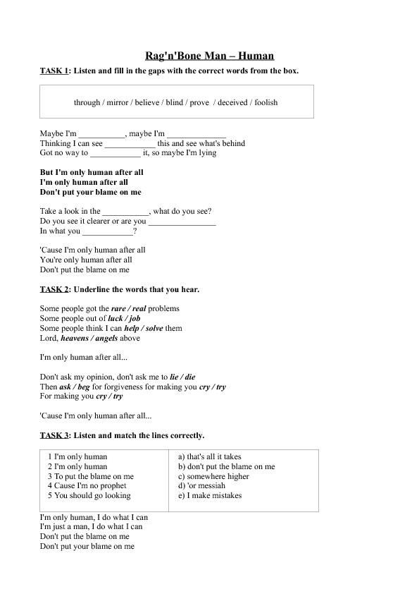 Worksheet Human by RagnBone – Forgiveness Worksheet