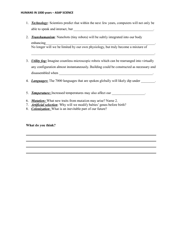 Worksheet Humans in 1000 Years Asap Science – Gene Mutation Worksheet
