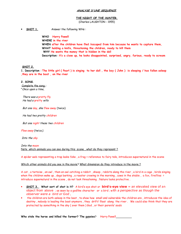 Movie Worksheet: Night of the Hunter Riverboat Scene Key