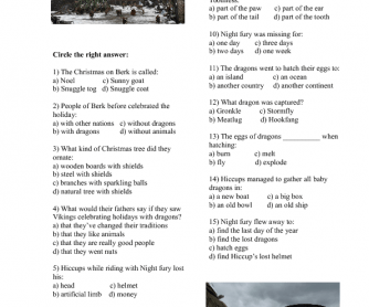Movie Worksheet: How to Train Your Dragon- Gift of the Night Fury