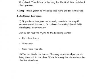Song Worksheet: Nothing Else Matters