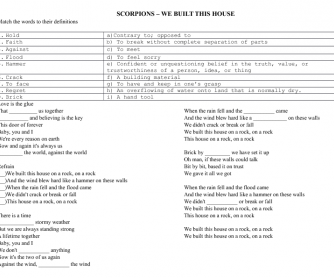 Song Worksheet: We Built This House by Scorpions