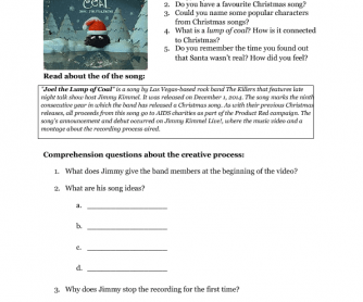Song Worksheet: Joel the Lump of Coa by The Killers (Christmas)