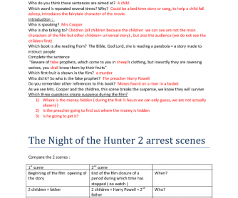 Movie Worksheet: The Night of The Hunter ( Answer Key)