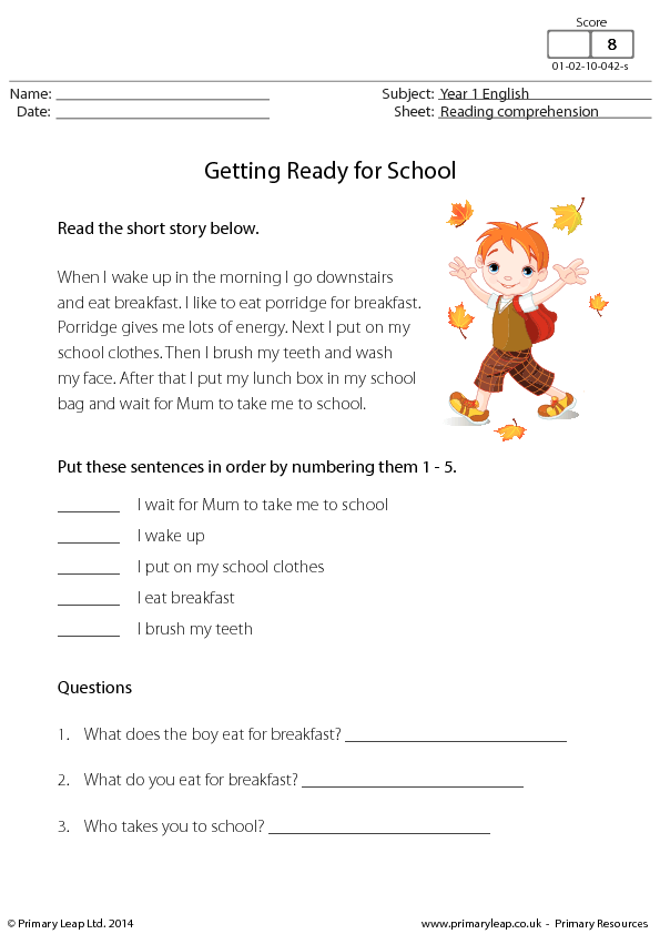 Comprehension: Getting Ready for School