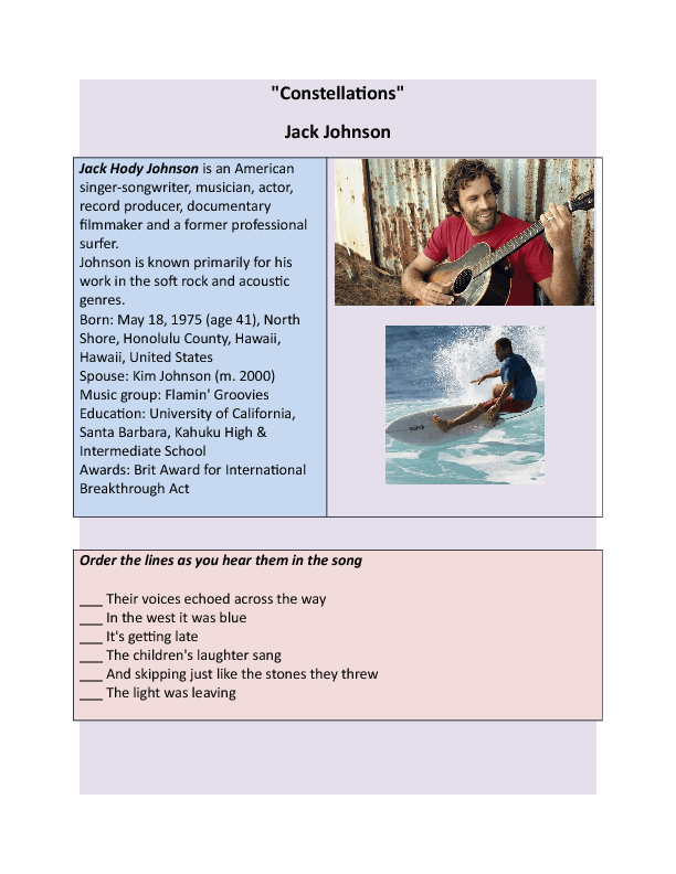 Worksheet Constellations by Jack Johnson – Constellations Worksheets